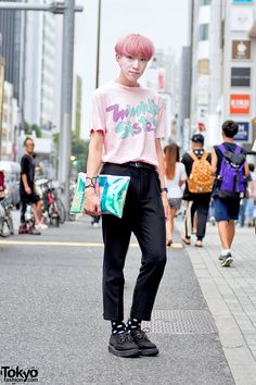 "Sho is an English-speaking Japanese college student who we often see around Harajuku. His look includes a Galaxxxy Japan ""Twinkle Sisters"" top, cropped pants, polka dot socks, and George Cox creepers. Full Look Japanese Streets, Japanese Street Fashion, Tokyo Fashion, Harajuku Fashion, Korean Fashion, Fashion Outfits, Asian Street Style, Tokyo Street Style, Genderless Kei"