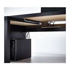 MALM Desk with pull-out panel - black-brown - IKEA