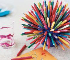 pencil crayon display using half a Styrofoam ball to stick the pencils into.