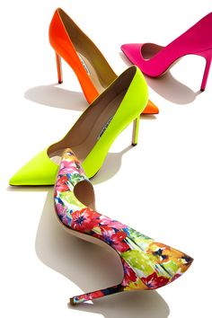 Walk on sunshine with bright and bold designs by Manolo Blahnik, featuring…