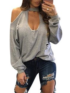 Ripped Cold Shoulder Cut Out Sweatshirt - LIGHT GRAY XL