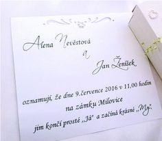 Svatební oznámení v krabičce- kopretinky