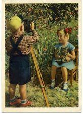 1958 boytaking фото камера девочка котенок Кот Русский unposted редкая открытка
