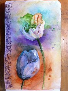 Art Journaling by Barbara Luel - pretty watercolor BEAUTIFUL!!