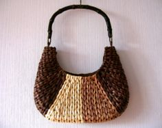 Woven Straw Basket Bag Women Summer Purse Bamboo Handle