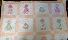 Vintage Hand Applique Sunbonnet Sue Dutch Girl Quilt Top - 20 Blocks - 76 x 96in