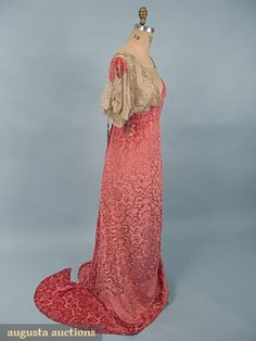 Beaded Cut Velvet Tea Gown, C. 1912, Augusta Auctions, October 2006 Vintage Clothing & Textile Auction, Lot 807