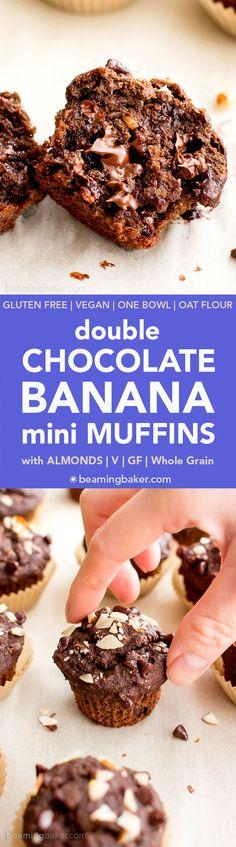 Double Chocolate Banana Almond Mini Muffins (V, GF, DF): a one bowl recipe for perfectly moist chocolate banana mini muffins made with oat flour and almonds. #Vegan #GlutenFree #DairyFree #OatFlour | BeamingBaker.com