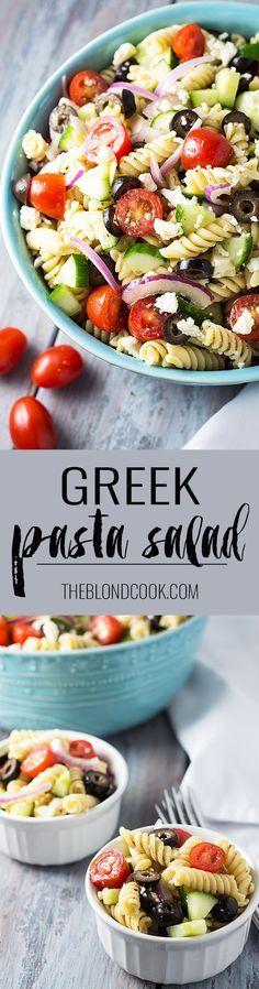 Greek Pasta Salad full of fresh veggies and pasta with an easy homemade vinaigrette   theblondcook.com