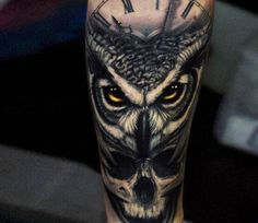 owl and skull tattoo - amazing, owl, skull, tattoo