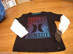 Boy's youth 5 kids Hurley long sleeve T shirt black NEW surf skate NWT Logo