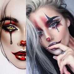 Makeup ideas Halloween – Great Make Up Ideas Halloween Makeup Clown, Mime Makeup, Pop Art Makeup, Halloween Makeup Looks, Up Halloween, Costume Makeup, Jester Makeup, Pop Art Costume, Makeup Eyes