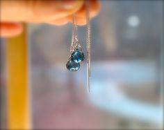 London blue topaz threader earrings. Blue gemstone bridal earrings. Ear thread blue topaz briolette earrings. Thread earrings. MADE TO ORDER by RockRhapsody on Etsy https://www.etsy.com/listing/270222656/london-blue-topaz-threader-earrings-blue
