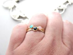 Multistone Rings, Solid 14k Ring, Gold Rings, Turquoise Ring, Onyx Ring, Pink Opal Ring, Turquoise Jewelry, Opal Jewelry, Onyx Jewelry, Gold