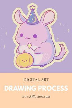Procreate digital illustration process of a wizard chinchilla with a pumpkin! #sticker #chinchilla #kawaii #cute