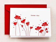 Gorgeous Stationary for Holiday Thank You Notes: Letterpress Poppy Thank You Notes, $18 for 10 cards, Crane & Co.