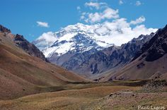 The almighty Aconcagua, stading tall at nearly 7 000 meters (6962 m or 22841 ft. This giant can be seen from the Aconcagua National Park just next to the national Ruta 7 which is the main road between Chile and argentina.