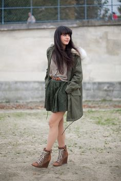 Alix of The cherry blossom girl is beyond military-chic in a Marc by Marc Jacobs parka,