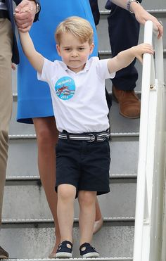 The blue sticker on Prince George's T-shirt was from 2014, which celebrated the 50th Displ...