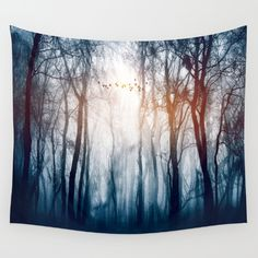 Morning Trees in Fog Photo: Wall Tapestries are made of 100% lightweight polyester with hand-sewn finished edges.  tapestries are durable enough for both indoor and outdoor use. Machine washable for outdoor enthusiasts, with cold water on gentle cycle using mild detergent - tumble dry with low heat.