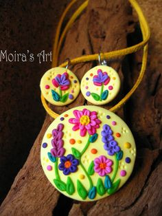 Pastel Yellow Delicate Flowers  polymer clay jewelry by MoirasArt, $29.00