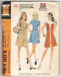 McCalls 2357 1970s Easy Misses Dress Pattern in Three Versions Pattern Womens Vintage Sewing Pattern by patterngate.com