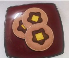 Felt pancakes set of 3 PLAY Pretend play food with butter and syrup