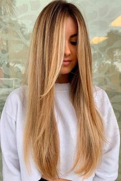 Natural Color Balayage With Long Bangs blondehair balayagehairstyles ★ Explore trendy long haircuts with layers for women. We have ideas for wavy, straight, thin and for thick hair. Face Shape Hairstyles, Frontal Hairstyles, Wig Hairstyles, Celebrity Hairstyles, School Hairstyles, Hairdos, Hairstyle Ideas, Wedding Hairstyles, Longbob Hair