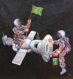 Satellite Roi Acrylic on canvas / 150 x / 2013 Contemporary African Art, Contemporary Design, Congo, African Artists, Afro Punk, Astronauts, Wood Engraving, Aliens, Robots