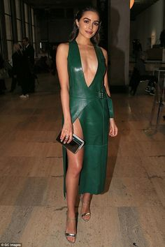"Sizzle in green Mugler like Oliva Culpo Click ""Visit"" to buy #DailyMail"