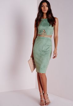 Missguided - Faux Suede Midi Skirt Mint
