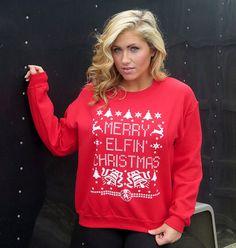 Merry Elfin' Christmas Funny Novelty Sweatshirt Reindeer Elf Santa Claus X-Mas Gag Ugly Sweater Party Mens Womens S-5XL Great Gift Idea