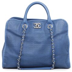 199ae54f38c6 Chanel Blue Perforated Calfskin Up in the Air Tote - modaselle Shopping  Chanel, Blue Fabric