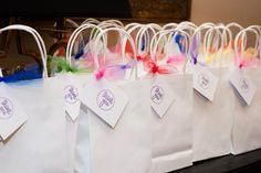 Lila's 2nd bday. Favor bags rainbow
