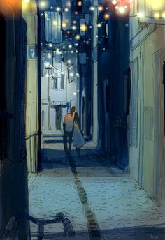 Street dwellers Growing up in France we had a lot of those little cobble stone streets. They were nice but at 2 or 3 Am after a fun night out they were magical! With the little bistro lights hanging out and no one in site and the big shadows.. I know...