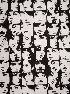 Black and White In Crowd Faces Print Pure by fabricsandtrimmings