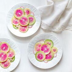 The Spring Spell: Watermelon Radish with Citrusy Glaze  http://www.threelittlehalves.com/2015/03/the-spring-spells-watermelon-radish.html