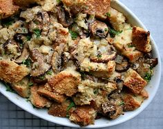 Wild mushroom bread pudding with Gruyere cheese and fresh sage