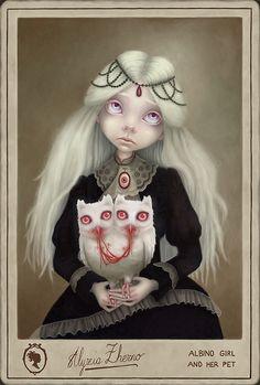 Albino Girl and her Pet by AlyziaZherno on deviantART