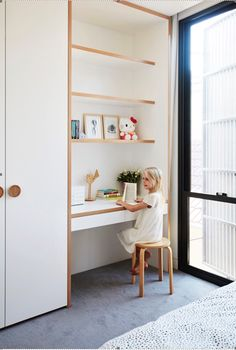 A Sleek, Two-Story Addition Hides Behind a Traditional Cottage in Sydney - Photo. A Sleek, Two-Story Addition Hides Behind a Traditional Cottage in Sydney - Photo 11 of 12 - Bedroom Desk, Bedroom Wardrobe, Built In Wardrobe, Bed Room, Bedroom Toys, Wood Bedroom, Wardrobe Ideas, Small Bedroom With Wardrobe, Wardrobe Behind Bed