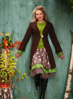 Manteaux longs, Frock Coat felted wool brown 36, 38, 40 est une création orginale de basia-kollek sur DaWanda