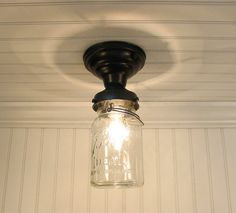 Single Vintage Canning Jar Ceiling LIGHT by LampGoods on Etsy, $69.00