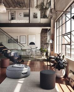 Tag someone who you could see living in this modernized warehouse loft. by roomporn
