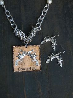 $14.99! Cowgirl UP Bling PISTOLs Guns Copper  Silver Western Gypsy necklace set #unbranded