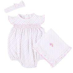 Magnolia Baby Baby Girls Katies Garden Bishop Smocked Gown Pink