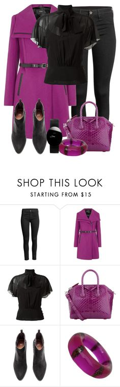 """""""Mackage Valencia Magenta Wool Blend Coat"""" by tlb0318 ❤ liked on Polyvore featuring Mackage, RED Valentino, Givenchy, CC and Rado"""