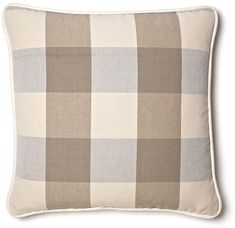 French Laundry Home Buffalo Plaid 20x20 Cotton Pillow - Taupe