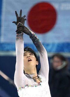 写真はフィギュアスケート男子フリーで演技する羽生結弦(2014年02月14日) 【時事通信社】