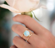 Beautiful double thin band ring in Gold Vermeil. The center stone cut in circle is the Turquoise hand-mixed with copper. This everyday ring is our most popular design and our best-seller! Larimar Rings, Druzy Ring, Gemstone Rings, Rose Quartz Ring, Blue Topaz Ring, Labradorite, Everyday Rings, Garnet Rings, Ringo Starr