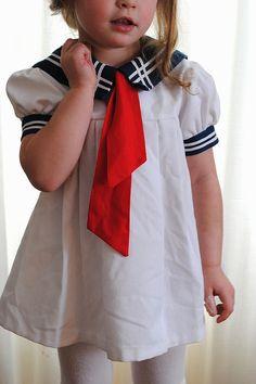girl's vintage sailor dress